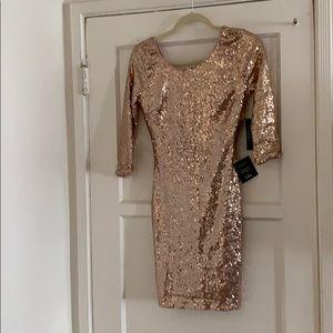 Lulus gold sequin dress